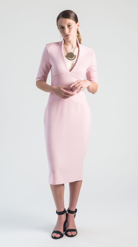 Nineteenth Amendment, VARYFORM, Golden Glow, Venus V-Neck Stretch Wool Dress, DRESS