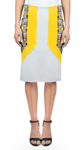 Panelled Print and Suede Pencil Skirt, Twisted City Tartan , Aimee Kent