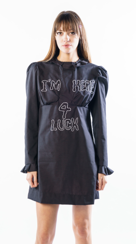 Nineteenth Amendment, , Collection 5 - Mini Capsule, I'M HERE FOR LUCK Black Sparky Mini Dress, DRESS