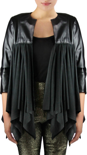 Nineteenth Amendment, , Starstruck, Draped Leather Jacket, BLAZER