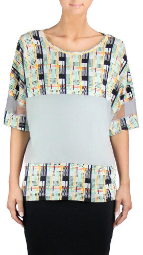 Panelled Print Color Block T-Shirt, Twisted City Tartan , Aimee Kent