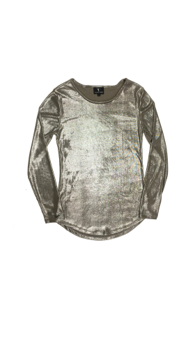 Nineteenth Amendment, VARYFORM, Golden Glow, Luna Metallic Long Sleeve Top, TOP