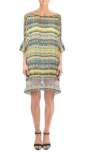 Nineteenth Amendment, , Twisted City Tartan, Silk Chiffon Digital Print Dress, DRESS