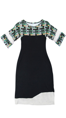 Nineteenth Amendment, , Twisted City Tartan, Panelled Print T-Shirt Dress, DRESS