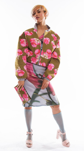 Nineteenth Amendment, , Everything'S Coming Up Roses, Quince Flower Bomber Jacket, OUTERWEAR