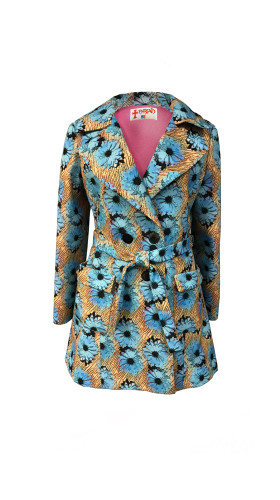 Nineteenth Amendment, , Modern Violet, Blue Daisy Trench, OUTERWEAR