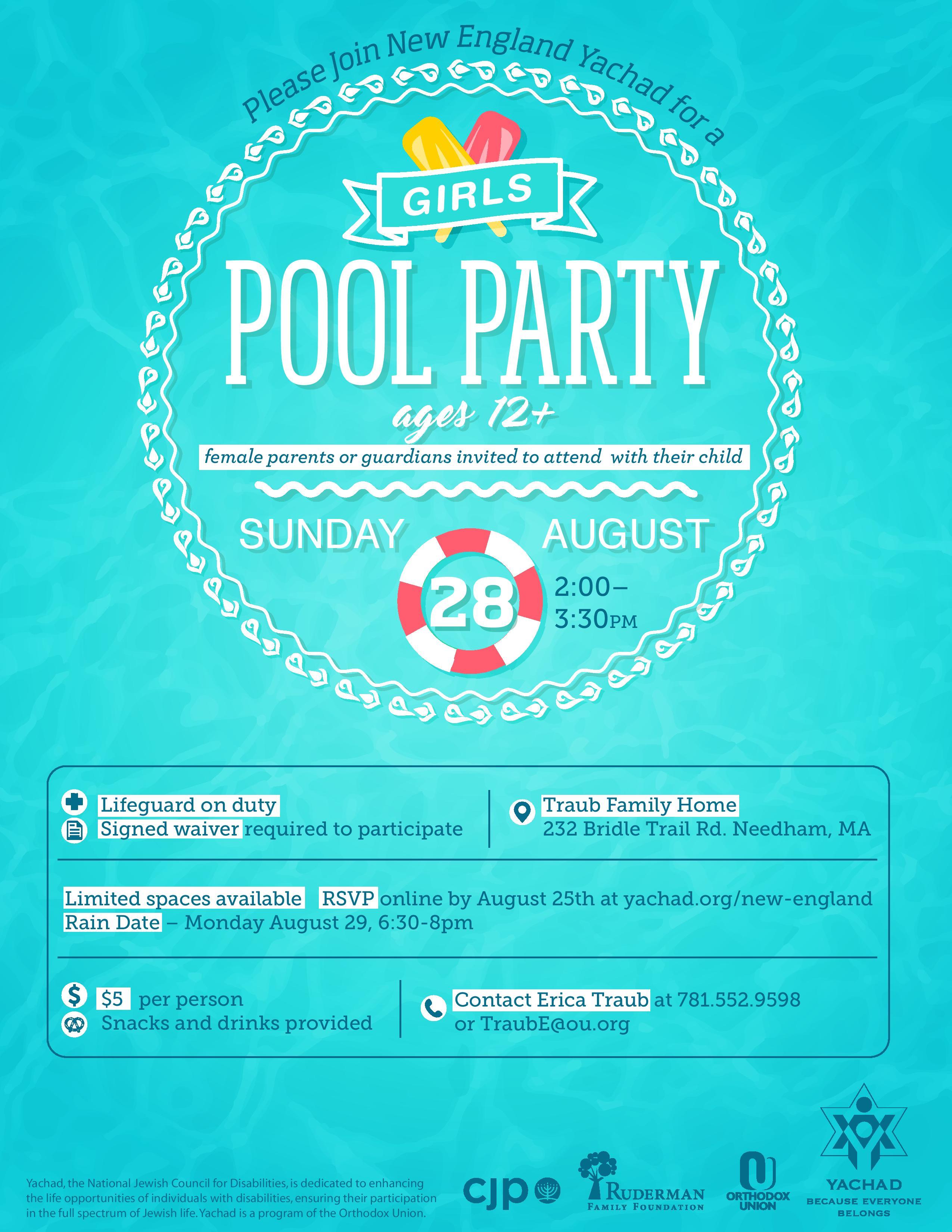 Girls Summer Pool Party Yachad