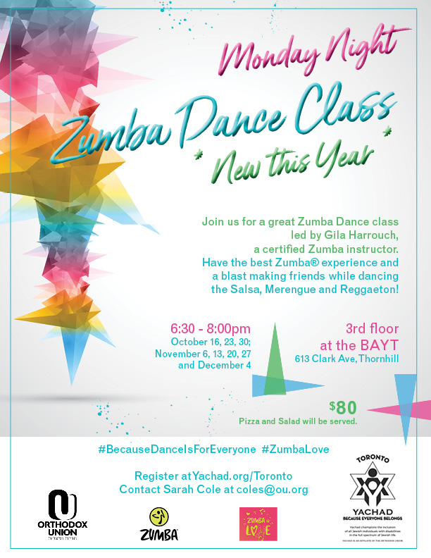 Monday Night Zumba Dance Class Yachad Events