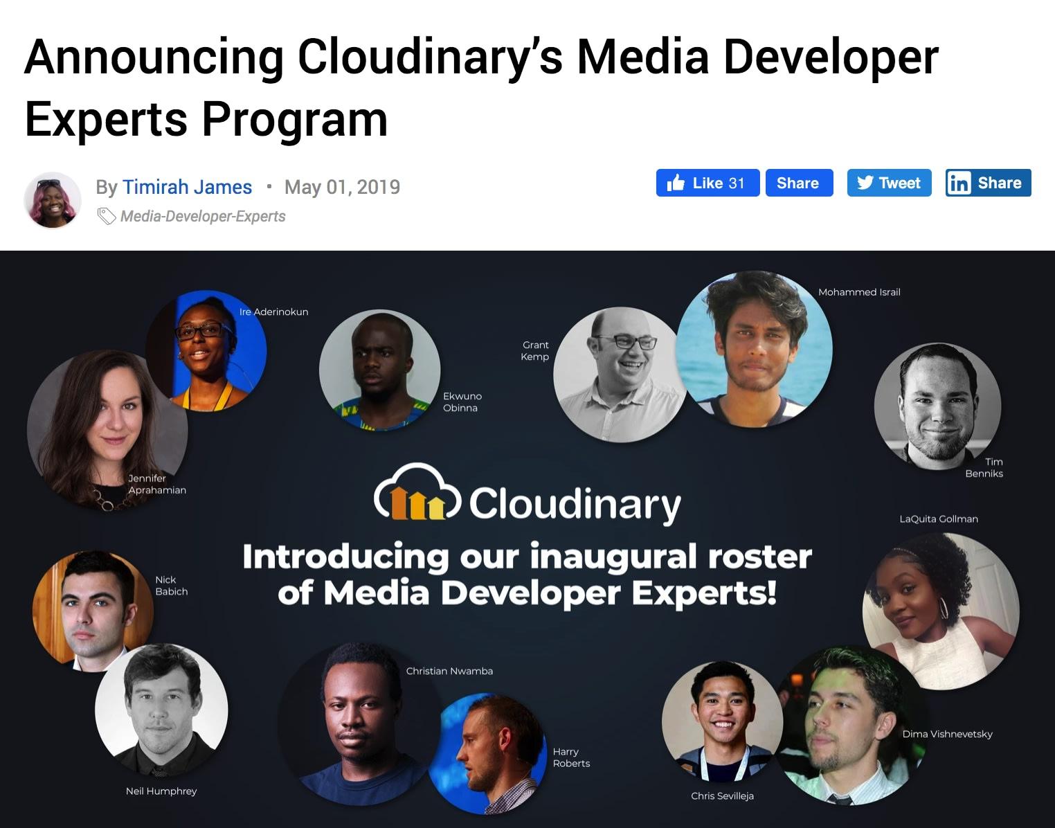 Neil Humphrey - Cloudinary Media Developer Expert