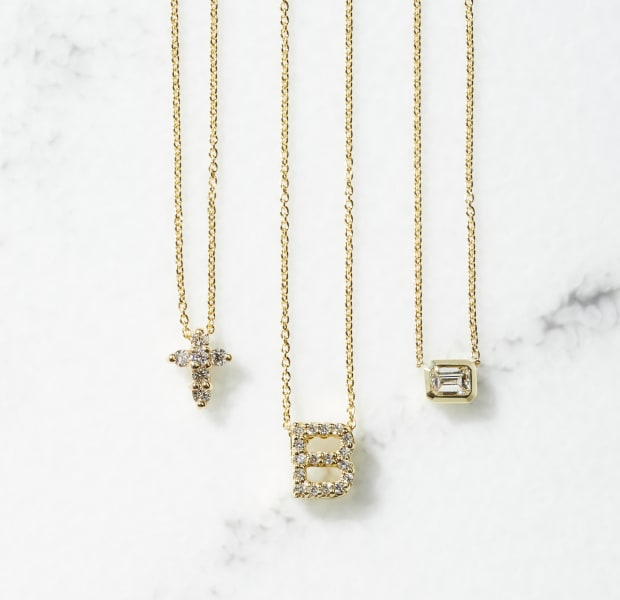 NECKLACES with diamond pendants: GOLD CROSS|GOLD DIAMOND|SILVER LETTER