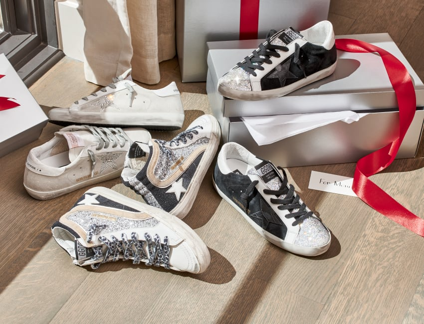 NMX sneakers: GLITTER FABRIC WITH CROCO PRINT STAR|SWAROVSKI CRYSTAL STAR|BLACK-SILVER GLITTER SLIDE