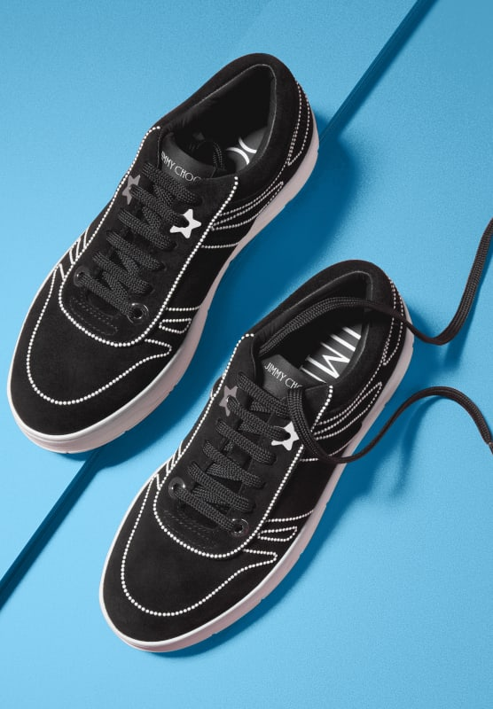 Black Hawaii Suede Sneaker with pearls