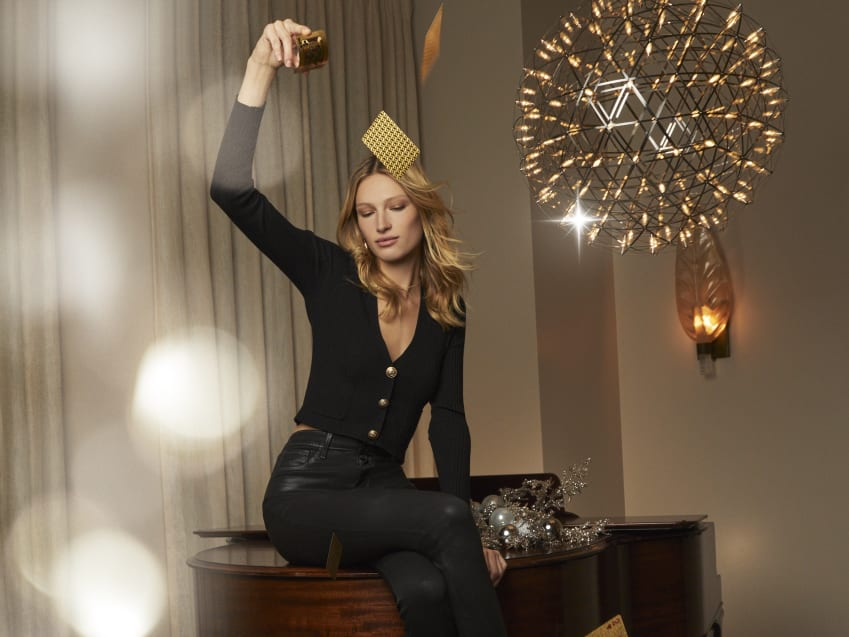 MARGUERITE SKINNY black contrast coated pants Jamie Cropped Cardigan in black