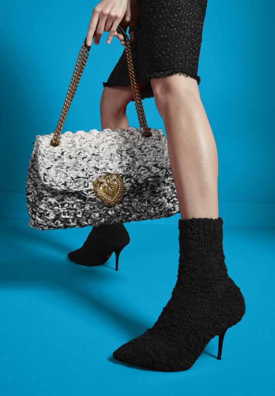 90MM KNITTED BOOTIE|KNITTED DEVOTION DOUBLE-CHAIN SHOULDER BAG