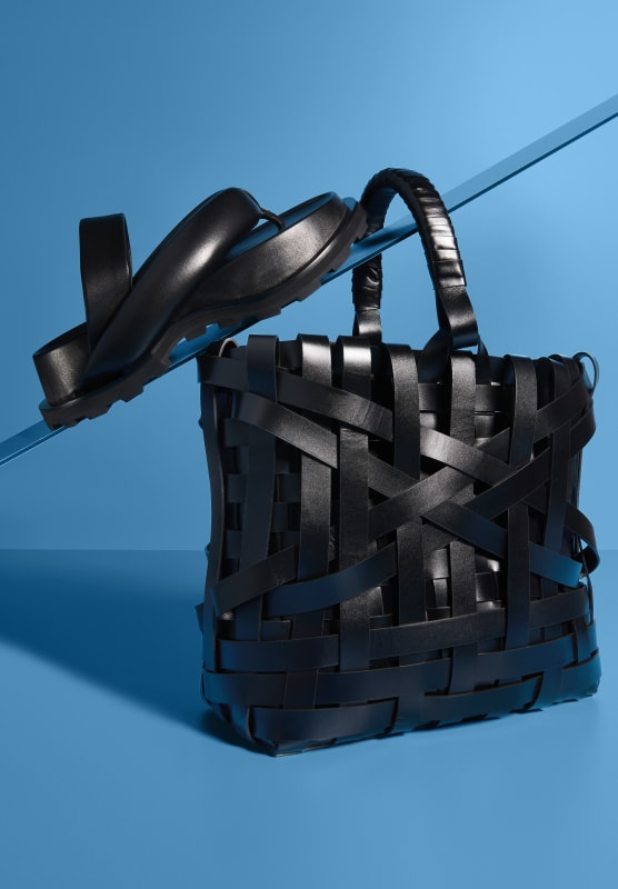 black sandal|black leather woven bag