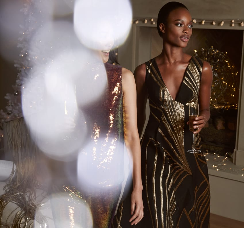 Black-gold dress gold foil dress