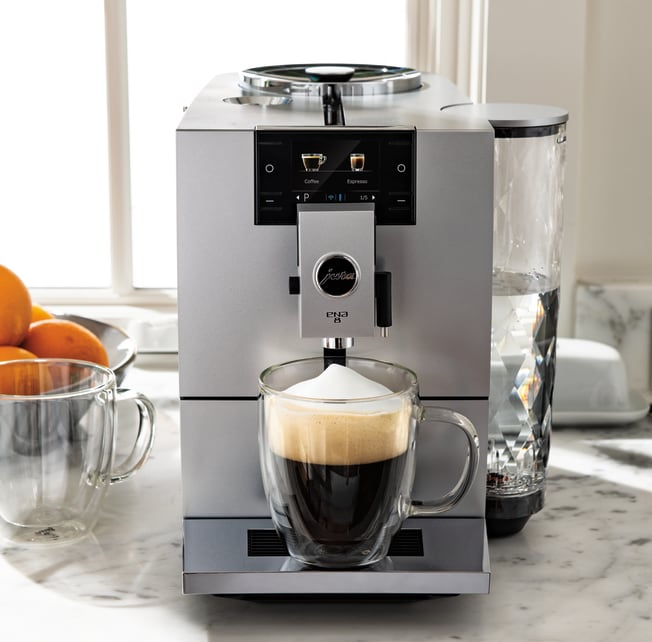 ESPENA 8 Metropolitan Espresso Machine Black with Glass Milk Container and Stainless Steel Milk Pipe