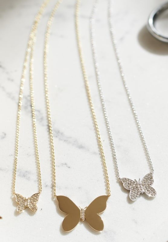 BUTTERFLY PENDANT NECKLACE in Solid Yellow Gold|Yellow Gold with Diamonds|White Gold with diamonds