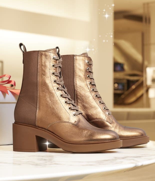 F21 45MM METALLIC LACE UP BOOTIE