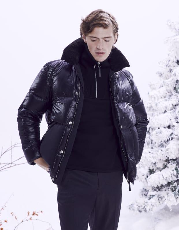 Leon Shiny Daiichi Puffer Coat|Camner Solid Quarter Zip Sweatshirt|Curtis Portland Wool Pant