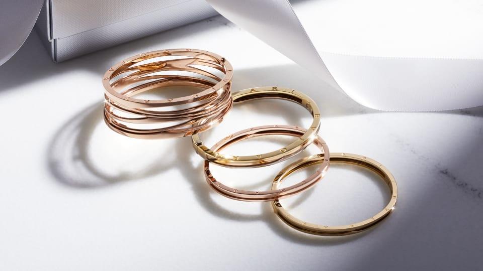 18K Gold B.Zero1 BANGLES: ROSE GOLD|ROSE, YELLOW, WHITE GOLD|YELLOW GOLD|DESIGNLEGEND IN ROSE GOLD