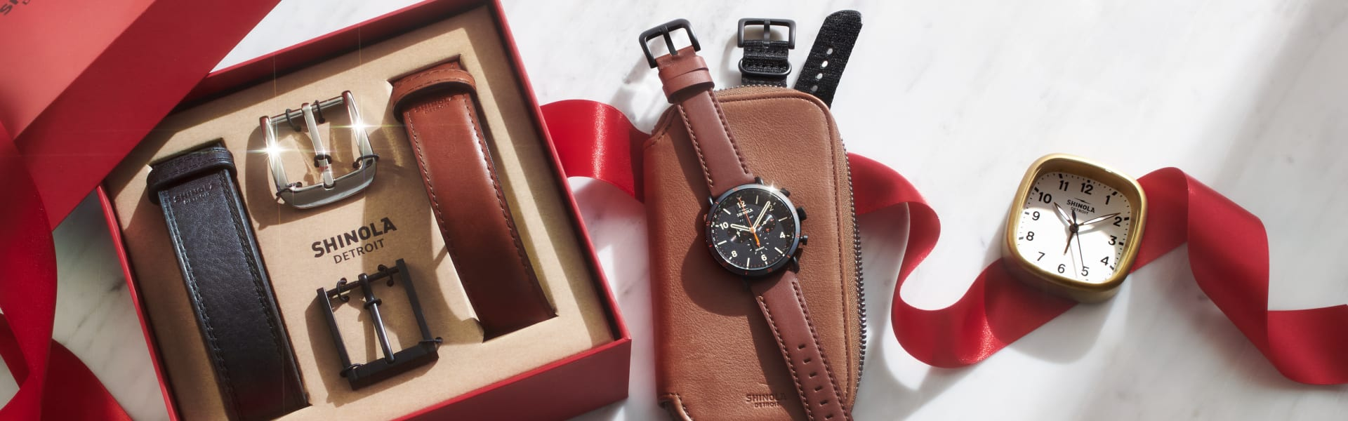 EXCLUSIVE TRAVEL WATCHCASE|EXCLUSIVE BELT GIFT SET|WATCH with BLACK FACE and LEATHER STRAPS|EXCLUSIVE GUARDIAN TRAVEL CLOCK
