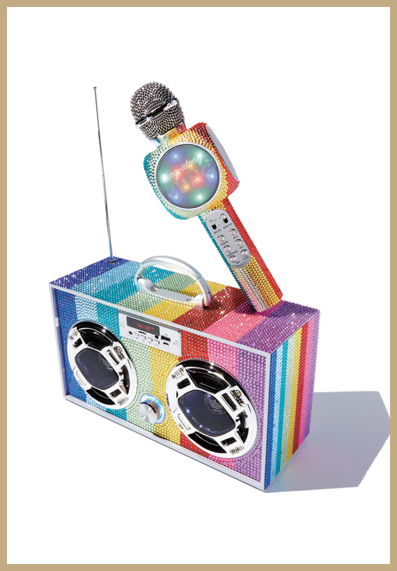 Rainbow Bling Bluetooth Boombox|Microphone