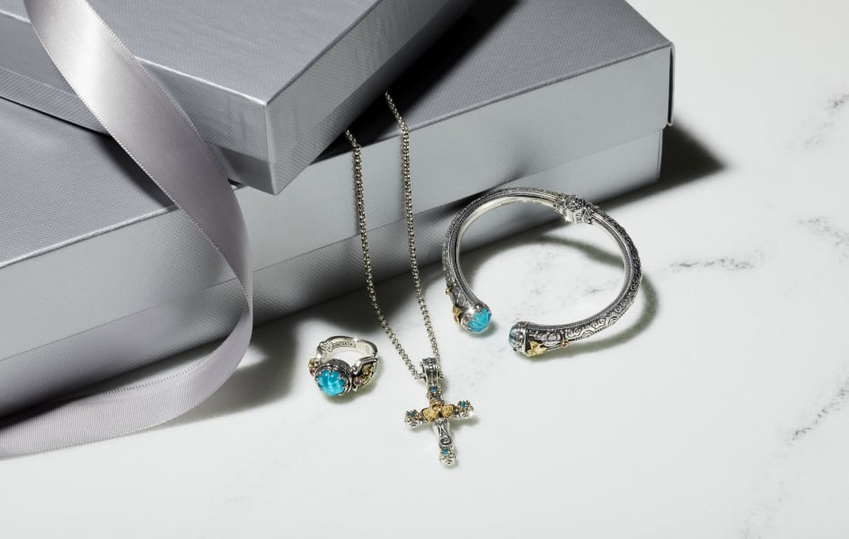 BLUE STONE GOLD AND SILVER Necklace with CROSS PENDANT|Cuff|Ring