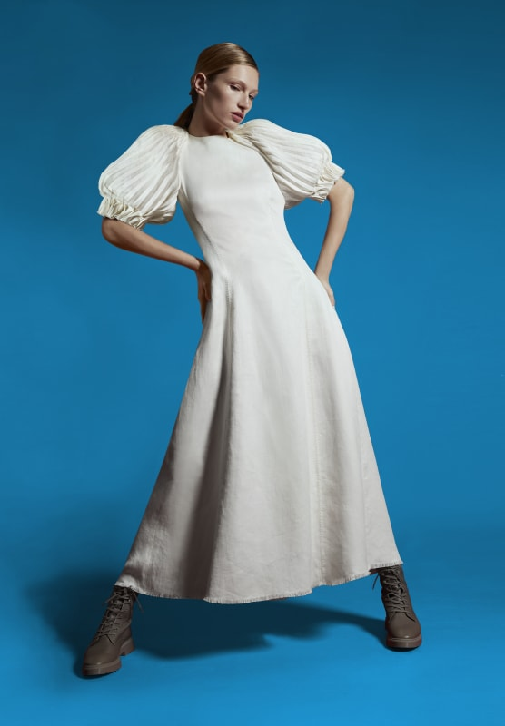 White long Puga dress with pleated puff sleeves