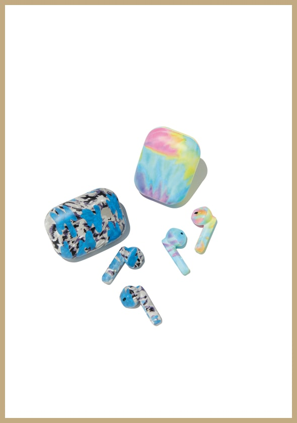 Ear Bud Covers and Case in blue-gray tie dye|Pastel Tie Dye