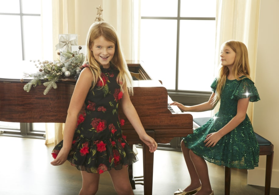 Red rose dress (Zoe)|green dress (David Charles)