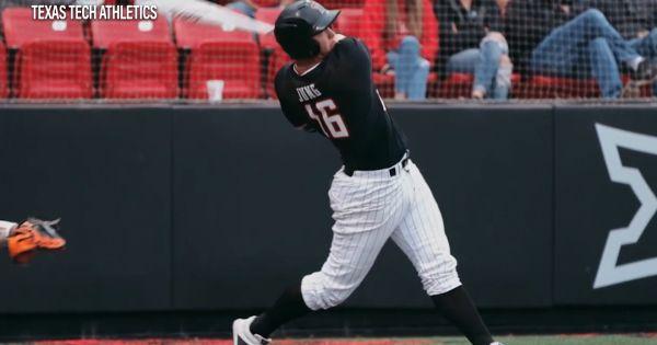 Image of Texas Tech baseball player swinging bat
