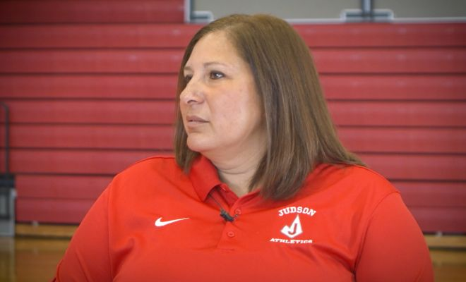 Image of Judson Rockets Girls head basketball coach getting interviewed
