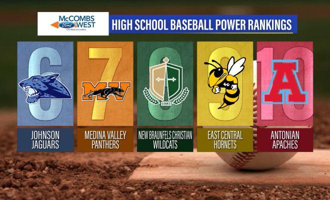 Image of High School Baseball Power Rankings graphic showing ranks 6 through 10