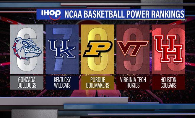 Image of NCAA basketball power rankings graphic show ranks 6 through 10