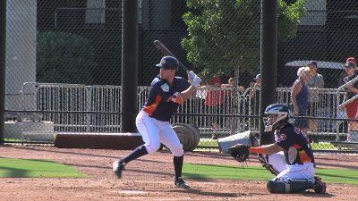 Image of Alex Bregman hitting ball with bat during spring training
