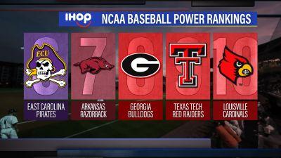 Image of NCAA Baseball Power Rankings graphic showing ranks 6 through 10
