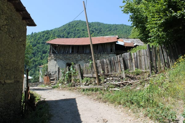 A village in Upper Svaneti on the road from Lentekhi to Ushguli