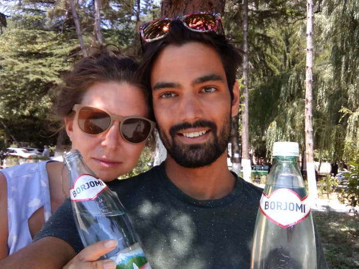 Drinking the famous healing water of Borjomi