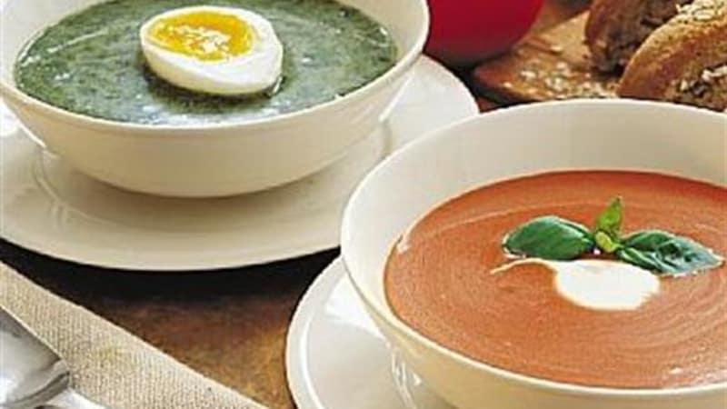Tomat- og spinatsuppe