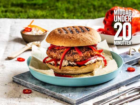 Chorizoburger med grillet paprika