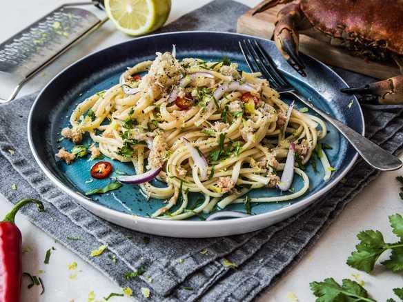Krabbepasta med sitron og olivenolje