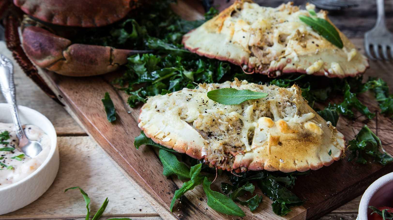 Gratinert krabbeskjell