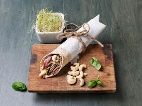 Fullkornswrap med reinskav og cashewnøtter