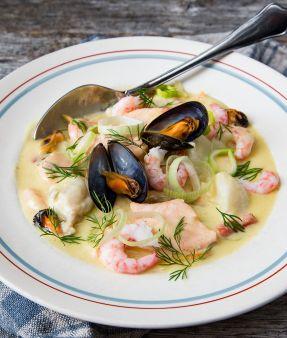 Kremet suppe med havets skatter