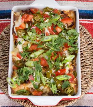 Enchiladas med kjøttdeig, vårløk og koriander