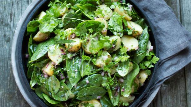 Lun potetsalat med babyspinat, rødløk og urter