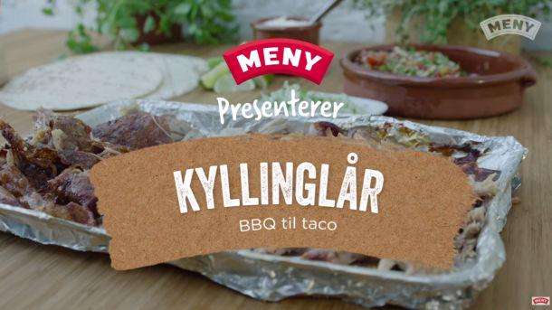 Grillet kyllinglår med BBQ smak, til taco