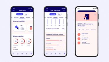 Skjermbilder av kostholdsfunksjonen i Trumf-appen
