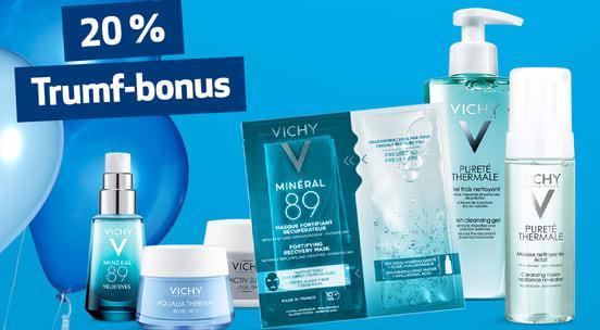 Foto av flere Vichi-produkter som står på blå bakgrunn